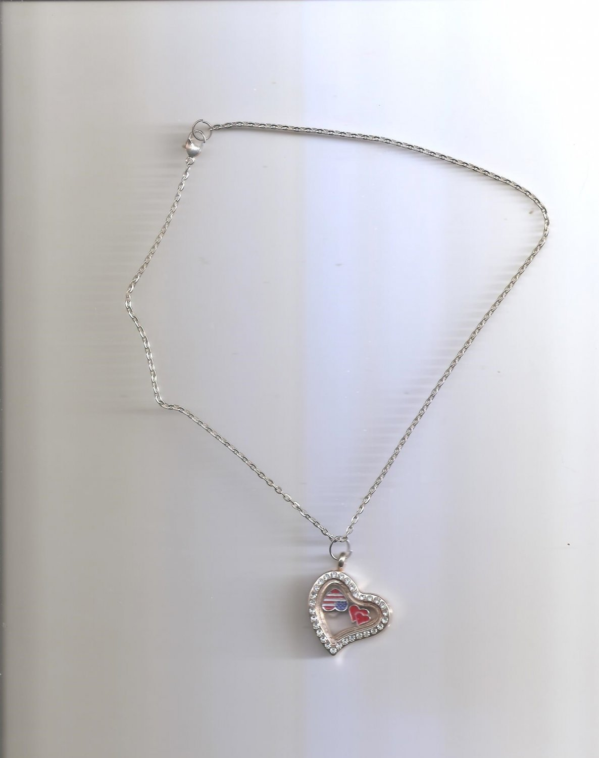 Silver Gold Heart Living Memory Floating Charms Locket Necklace
