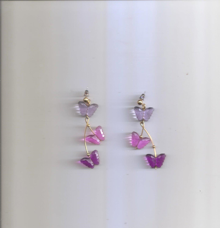 Ladies Dangle Butterfly Earrings Pink & Purple