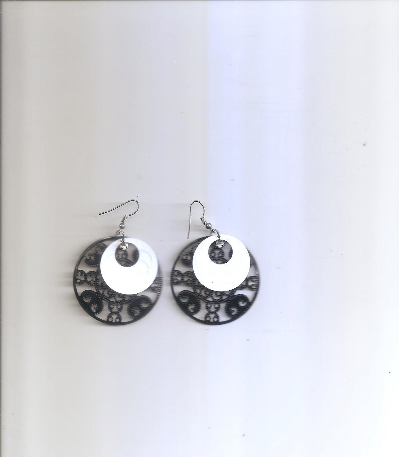 Ladies Dangle Black & White Earrings