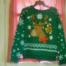 Green, Red Christmas Sweat Shirt Size Medium