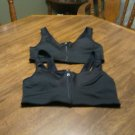 2 Black Bras Front Zip Size Xlarge Padded Cup Adjustable Straps No Underwire