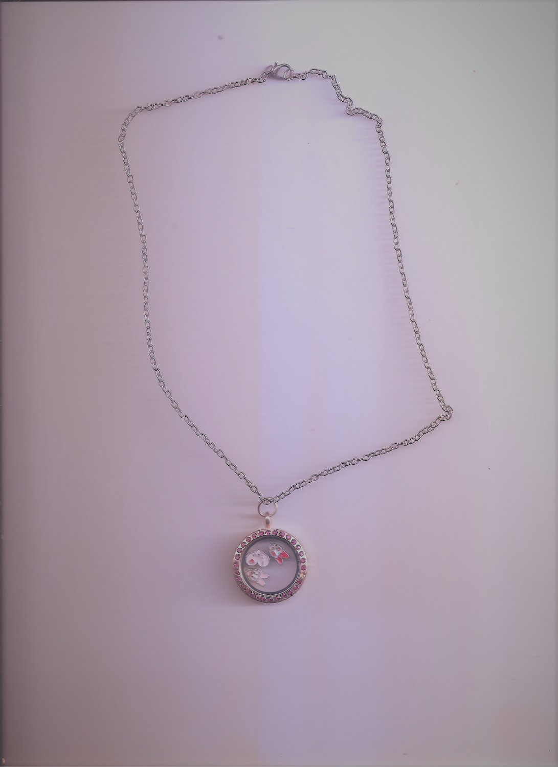 Floating Charms Red Round Locket  Necklace