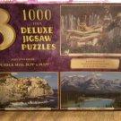 3 Deluxe Jigsaw Puzzles - 1000 Pieces Each - Golden Statue - Manarola Italy - Banff, Alberta Canada