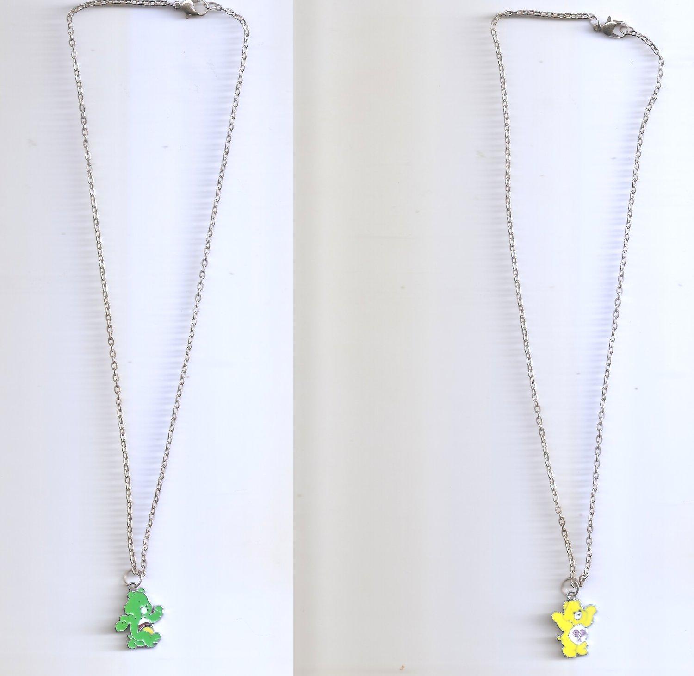 Happy Yellow Green Carebear Heart Necklace