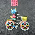 Betsey Johnson Cute Blue Cat  Bicycle  Brooch Pin