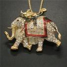 Betsey Johnson White Royal Elephant  Crystal Pendant  Necklace