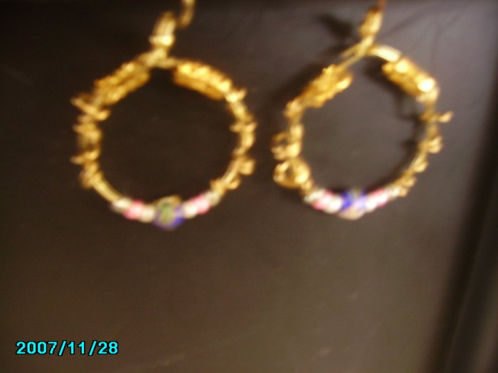 Gold Hoops with Cloisonne