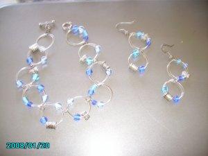 Silver Hoop Set with  Butterflies