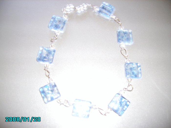 Silver Bracelet With Blue Flowers