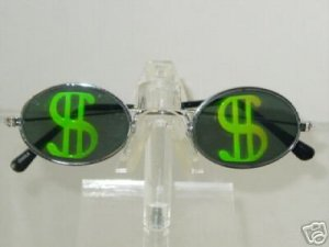 DOLLAR SIGN  OVAL FRAME TEXAS HOLDEM HOLOGRAM SUNGLASSES