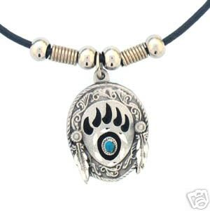 BEAR PAW AND FEATHERS EARTH SPIRIT NECKLACE