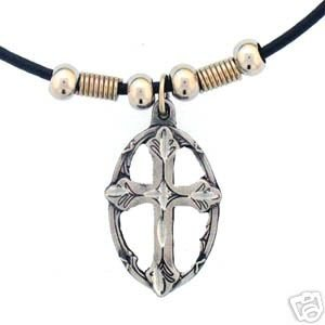 CROSS IN OVAL EARTH SPIRIT NECKLACE