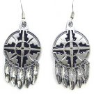 SHIELD AND FEATHERS EARTH SPIRIT DANGLE EARRINGS