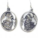 WOLFHEAD HOWLING AT MOON EARTH SPIRIT DANGLE EARRINGS