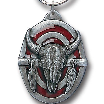 BUFFALO SKULL SCULPTED ENAMELED KEY RING KEY CHAIN