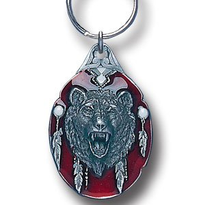 GRIZZLEY HEAD SCULPTED ENAMELED KEY RING KEY CHAIN