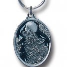 WOLF HEAD HOWLING AT MOON SCULPTED ENAMELED KEY RING KEY CHAIN