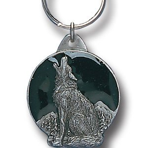 HOWLING WOLF SCULPTED  ENAMELED KEY RING KEY CHAIN