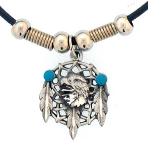 EAGLE HEAD ON DREAM CATCHER EARTH SPIRIT NECKLACE