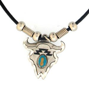 BUFFALO SKULL AND STONE EARTH SPIRIT NECKLACE