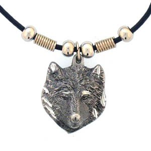 WOLF HEAD  ROUGH EARTH SPIRIT NECKLACE
