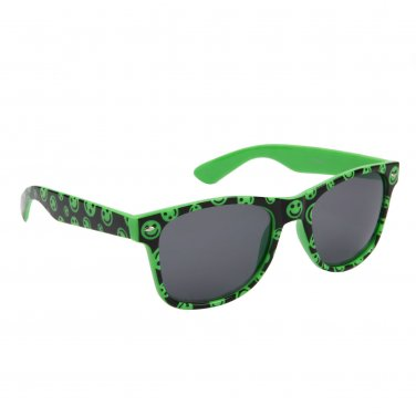 GREEN HAPPY FACE PLASTIC FRAME WAYFARER STYLE SUNGLASSES