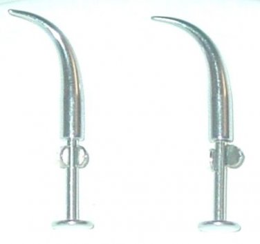 1 PAIR CURVED SPIKE 14 GAUGE CHIN LABRETS SURGICAL STEEL FREE US SHIPPING
