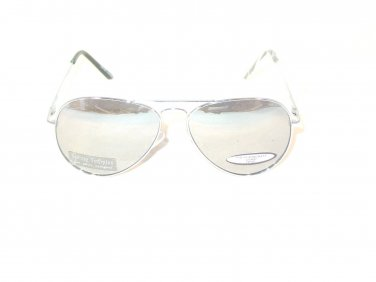 Mirror Lenses Old School Aviater Style Sunglasses Silver Color Frames