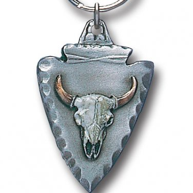 BUFFALO SKULL ON ARROWHEAD SCULPTED ENAMELED KEY RING KEY CHAIN