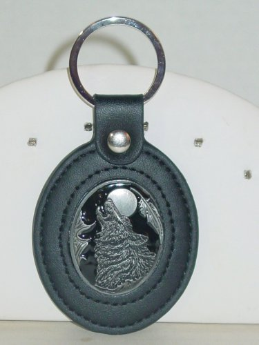 LEATHER WOLF HEAD HOWLING AT MOON ZINC KEY RING SISKIYOU SILVER ANIMAL