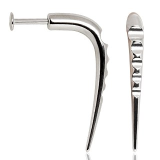 """1 PAIR 1 1/2"""" DISTURBED TALON HOOK TIERED 14 GAUGE CHIN LABRETS SURGICAL STEEL FREE US SHIPPING"""