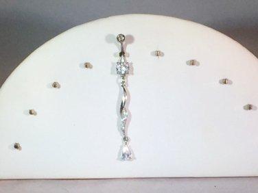 FANCY SWIRL CLEAR ZIRCONIA TEARDROP CURVED STEEL DANGLE NAVEL RING 316L 14G