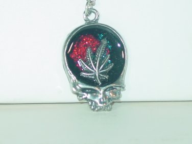 DEAD HEAD SKULL MARIJUANA LEAF SILVER PENDANT 24 INCH CHAIN NECKLACE NEW BAGGED