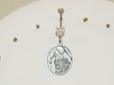 CLEAR CZ WOLF HEAD HOWLING AT MOON CURVED SILVER 316L SURGICAL STEEL NAVEL RING 14G