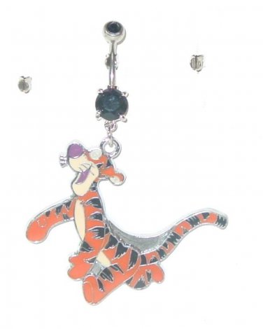 TIGGER BLACK DOUBLE CUBIC ZIRCONIA DANGLE CURVED BELLY NAVEL RING 316L STEEL 14G