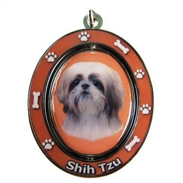 TAN AND WHITE SHIH TZU SPINNING DOG KEY CHAIN