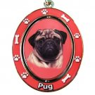 BLACK AND TAN PUG SPINNING DOG KEY CHAIN