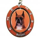 BOXER WITH CROPPED EARS SPINNING DOG KEY CHAIN