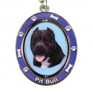 BLACK PIT BULL SPINNING DOG KEY CHAIN