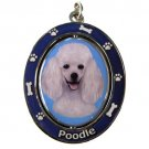 WHITE POODLE SPINNING DOG KEY CHAIN