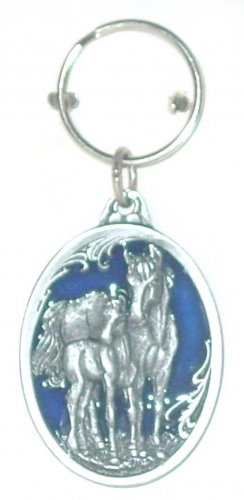 MARE AND COLT SCULPTED ENAMELED KEY RING KEY CHAIN