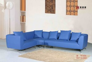 Blue Leather Sectional