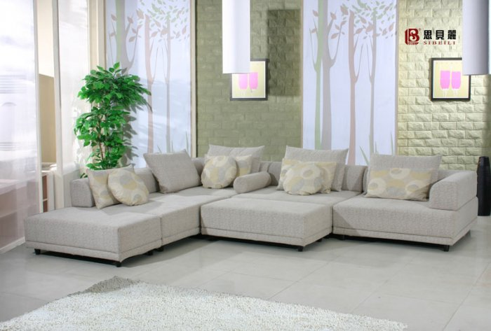 White Dimentional Retro Sectional