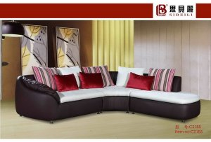Black and White Leather Retro Sofa Sectional