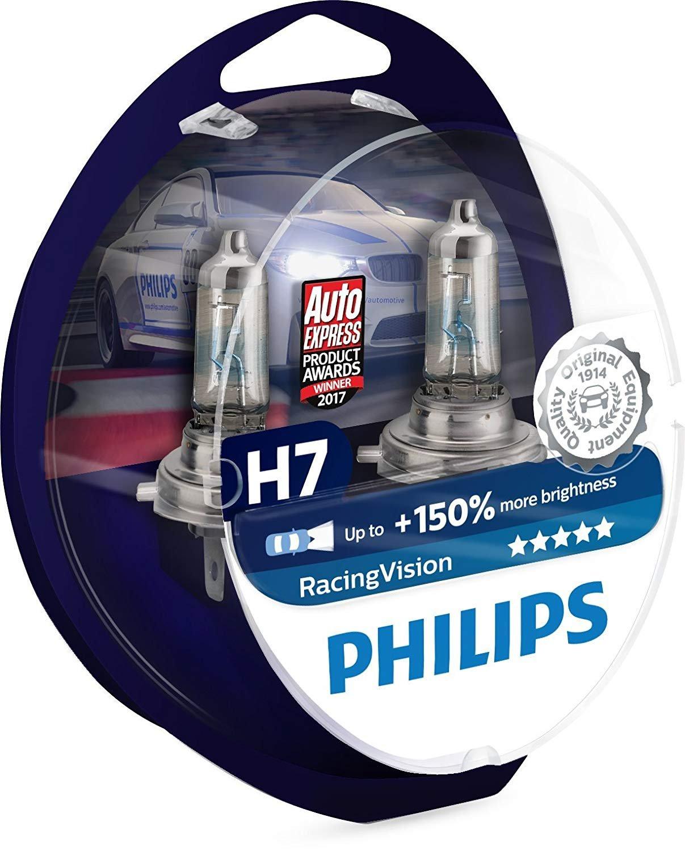 PHILIPS H7 headlight car bulbs RacingVision +150% 55W 12V PX26D box of 2