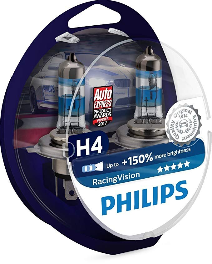 PHILIPS H4 headlight car bulbs RacingVision +150% 60/55W 12V P43t box of 2