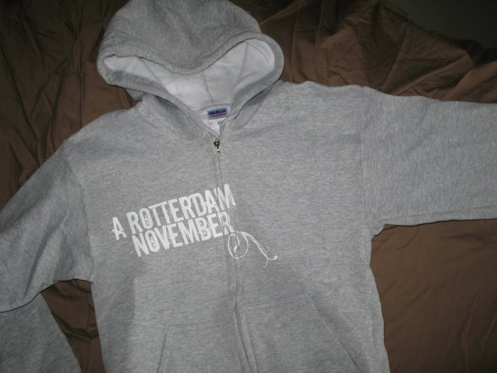 Hoodie - Heather gray with White floral - Lg