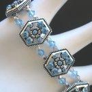 Aquamarine and Silver Crystal Stretch Bracelet