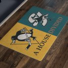 San Jose Sharks Pittsburgh Penguins House Divided Man Cave Welcome Doormat