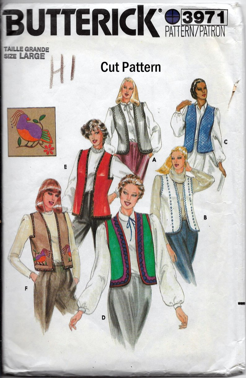 Butterick 3971 Size Large Vests Different Styles and Transfers Vintage Sewing Pattern Cut